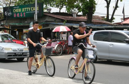 Brave cyclists in Penang