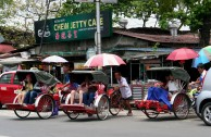 Rickshaws taking on the Penang traffic