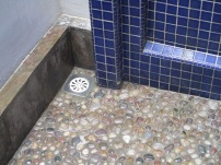 Lovely stone floor in the shower