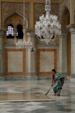 Sweeping the Chowmahalla throne room