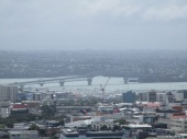 View of the harbour bridge through the clouds